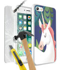 Unicorn Design Case Skin Cover with Tempered Glass For Various Mobile Phones 014
