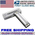 Brand New Harmonica 10 Holes Key of C SILVER w/ Case Blues Harp Stainless Steel