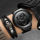 Creative Unique Skull Dial Men Waterproof Stainless Steel Quartz Wrist Watch
