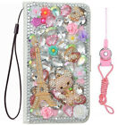 Luxury Pu Leather Flip Bling Diamond Wallet Case Girls' Phone Cover &  Straps A8
