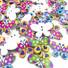 10/50/100pcs Butterfly Wood Buttons Sewing Craft Mix Lots Wholesales WB431