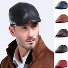 Mens Leather Flat Ivy Cap Women Newsboy Gatsby Bonnet Cabbie Golf Beret Hat
