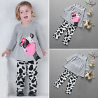 Toddler Baby Girls Outfit Clothes T-shirt Tops Dress+Pants 2PCS Sleepwear Sets