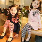 2Pcs Girls Bow Long Sleeve Top + Striped Leggings Pants Set Kids Outfit Clothes