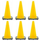 "18"" Yellow Traffic Cone Black Base, 3lbs (Pack of 6)"