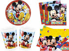 MICKEY MOUSE PARTY SET TABLE WARE - Birthday Plate Cup Napkins Dispose Paper