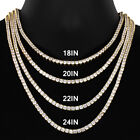 """4 Prong 4mm One Row 18-30"""" 14K Gold Finish Tennis Choker Necklace Chain"""