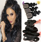 Alimice Body Wave with Lace Closure Indian Human Hair Extensions Weave US STOCK