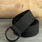 UK Sell Fashion Casual Unisex Canvas Fabric Belt DRing Buckle Webbing Waist Band