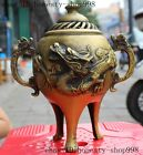 "9""Marked Old Chinese pure Brozne Auspicious Dragon beast incense burner Censer"