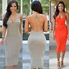 US Womens Sexy Halterneck Bodycon Long Dress Party Cocktail Clubwear Slip Dress