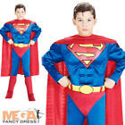 Muscle Superman Boys Fancy Dress Deluxe Superhero Kids Costume Child Outfit 3-10