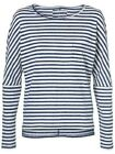 O'Neill Ladies Essentials Long Sleeve T Shirt in White and Blue Stripe