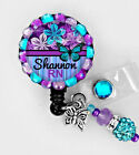 Butterfly ID REEL BLING BADGE HOLDER with charm Nurse, RN LPN CNA