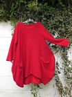"BALLOON TUNIC DRESS WAFFLE FABRIC RED OS 42"" - 48"" BUST LAGENLOOK ETHNIC ARTY"