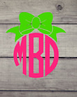 Monogram with Bow decal-Auto-Laptops-yeti-cell phones - VINYL decals - laptop