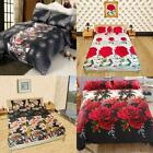 4pcs 3D Bedding Set Fitted Sheet Bed Cover Pillowcases Fading-Resistant Hot D5G7