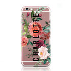 PERSONALISED FLORAL TRANSPARENT CUSTOM NAME PHONE CASE COVER FOR APPLE IPHONE