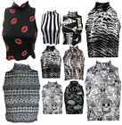 Turtle Polo Neck Crop top Womens Printed Sleeveless Crop Top Stretch Vest Top