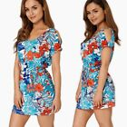 Ladies Floral Cold Shoulder Long Summer Top Mini Dress Casual Summer Tunic