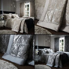 Luxury Catherine Lansfield Crushed Velvet Bedspread Natural Cream Silver Grey