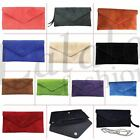 New Womens Genuine Suede Leather Clutch Party Wedding Envelope Bag