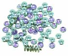 60pcs Crystal Silver Purple Half Czech Glass Disc Washer Beads Solo Flat Disk Sp