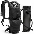Black Tactical Hydration Pack With 3L Water Bladder Fits Men, Women - Military &