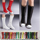 boots punk - PUNK Women Girls Shoes Zip Lace Up Boot Canvas Sneaker Knee High Black/White/Red