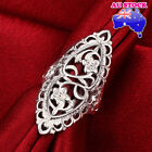 Wholesale 925 Sterling Silver Filled Oval Filigree Flower Band Ring