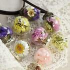Handmade Crystal Glass Ball Flower Necklace Leather Chain Pendant NEUS