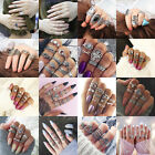 Bohemian Gemstone Midi Ring Set Women's Boho Caved Diamond Knuckle Rings NEUS