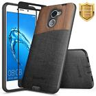 For Huawei Ascend XT2 / Huawei Elate Case | Hybrid Shockproof Wood Canvas Cover