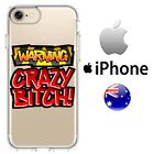 Silicone  Case Cover Cool Crazy FUn Crazy Bitch Back Off Red Warning Quirk