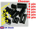 IC Sockets 6 8 14 16 18 28 pin DIL DIP socket 5, 10, 20 or 30 pack - UK Stock