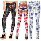 Womens Plus Size All Over Print Skinny Slim Fit Sports Trousers Leggings 8-26