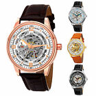 Men's Akribos XXIV AK410 'Saturnos' Skeleton Automatic Alligator Leather Watch image