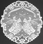 "Heritage Alpine Angels Lace White Doilies, Place Mats and 37""-52"" Table Runners"