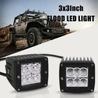 2x 3X3inch 18W  LED Work Light Flood Lamp Bike  CUBE POD Square Driving Lamp