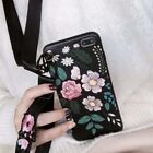 Grils Fashion Rose Bird Wristband Lanyard Soft Case For iPho