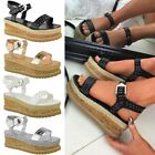 Womens Ladies Black Stud Flatform Sandals Summer High Wedge Espadrilles Shoes