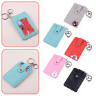 PU Leather 3 Layer ID Badge Credit Card Holder Pocket Case W/ Keychain Key Ring