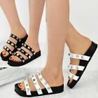 Womens Ladies New Strappy Summer Flat Sandals Grunge Punk Embellished Shoes Size