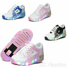 Breathable Boys Girl's LED Light UP Shoes Mesh Wheel Sneakers Kids Roller Shoes