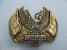 BELT BUCKLE  HARLEY DAVIDSON MOTOR CYCLE GOLD TONE SOLID BRASS  1983 H-508