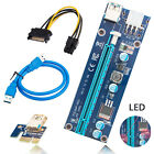 Lot USB3.0 PCI-E Express 1x To 16x Extender Riser Card Adapter Power Cable w/LED