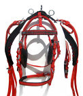 NYLON DRIVING HARNESS FOR HORSE IN RED COLOR, FULL,COB,PONY,SHETLAND