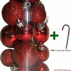 "20 Mini Tiny Christmas Shatterproof Round Ball w/ Free 6"" CC Ornament Decoration"