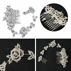 BRIDAL HAIR COMB WEDDING ROSE DIAMANTE CRYSTAL PEARL VINTAGE SLIDE CLIP TIARA