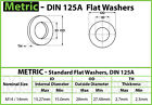 Metric Flat Washer DIN 125A, 200 HV Plain Steel - M4 M5 M6 M8 M10 M12 M14